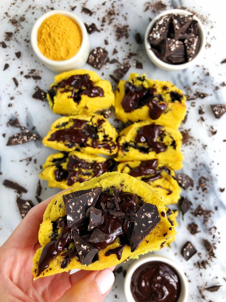 Paleo Golden Cinnamon Rolls with Chocolate Filling made with all plant-based and gluten-free ingredients and anti-inflammatory golden milk blend!