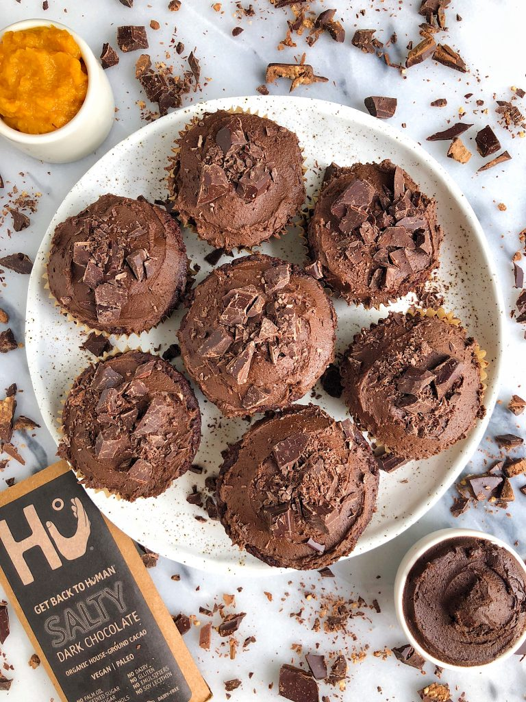 Healthy Gooey Double Chocolate Pumpkin Cupcakes made with all vegan and paleo ingredients for an easy homemade cupcake recipe filled with dark chocolate!