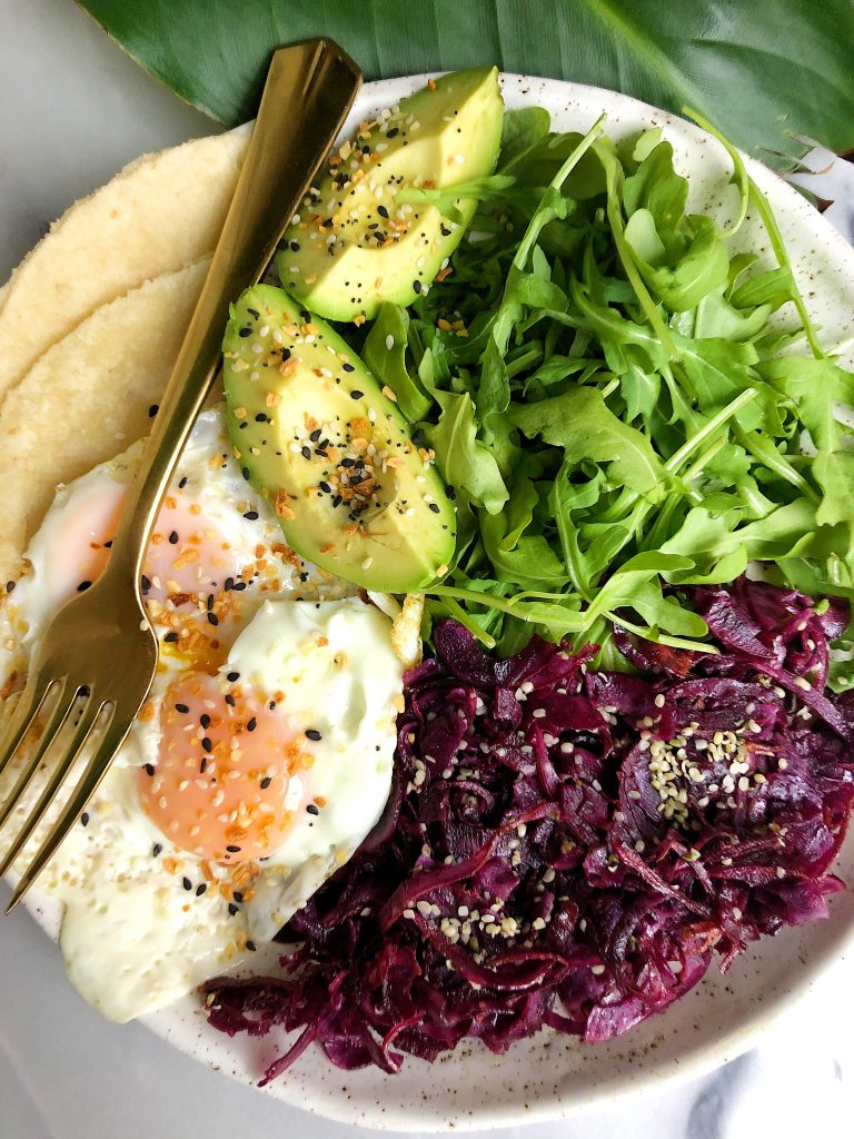 5-minute Savory Breakfast Plate filled with healthy fats, protein and extra greens for a quick and easy meal for anytime of the day!