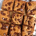 Peanut Butter Chocolate Chip Cookie Bars made with gluten-free, grain-free and vegan ingredients for a delicious dessert ready in 20 minutes!