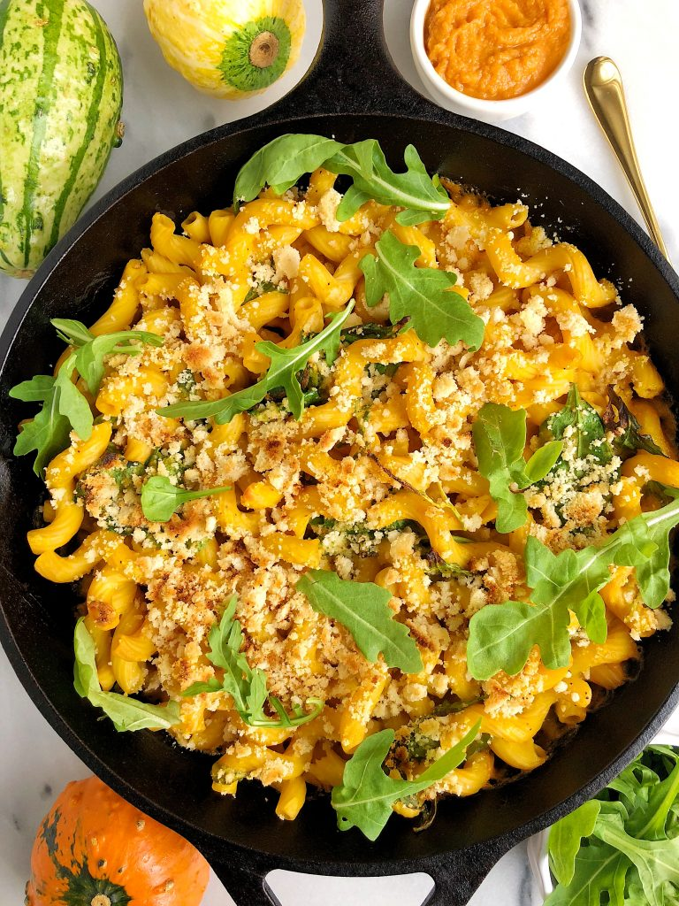 Healthy Baked Vegan Mac & Cheese made with all gluten-free, nut-free and plant-based ingredients for a healthier macaroni recipe!