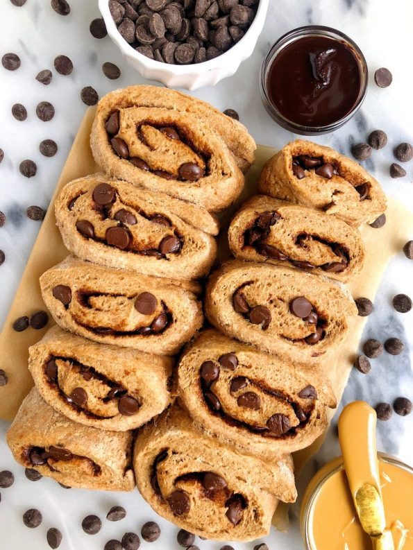 Healthier Gluten-free Dark Chocolate Chip Cinnamon Rolls made with gluten-free oat flour, almond milk and other simple ingredients!