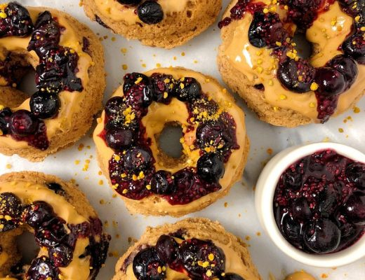 Healthy Baked Peanut Butter and Jelly Donuts made with vegan and gluten-free ingredients for a deliciously healthy twist on a classic!
