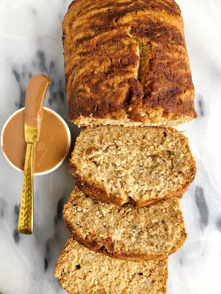 Vegan Cinnamon Roll Banana Bread mad with all gluten-free and nut-free ingredients for an easy banana bread recipe with a cinnamon roll twist!