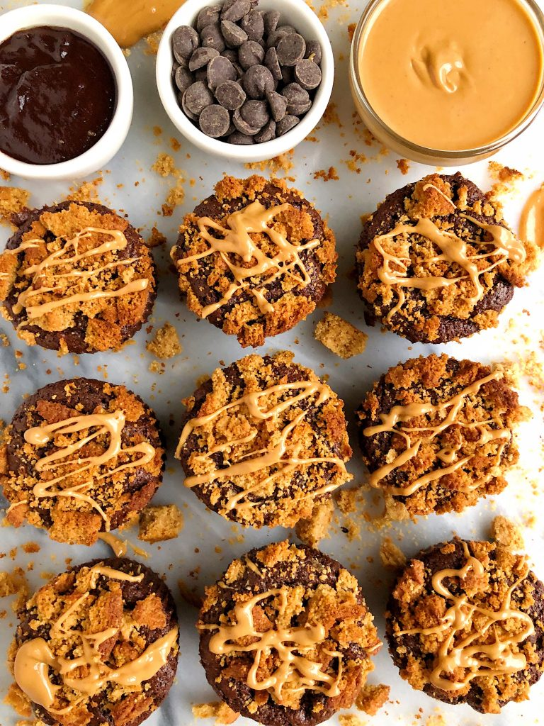 Grain-free Peanut Butter Cookie Brownies made with all gluten-free, dairy-free and refined sugar-free ingredients! These Fudgey brownie cups are topped with a crunchy peanut butter cookie topping for an extra peanut buttery flavor!