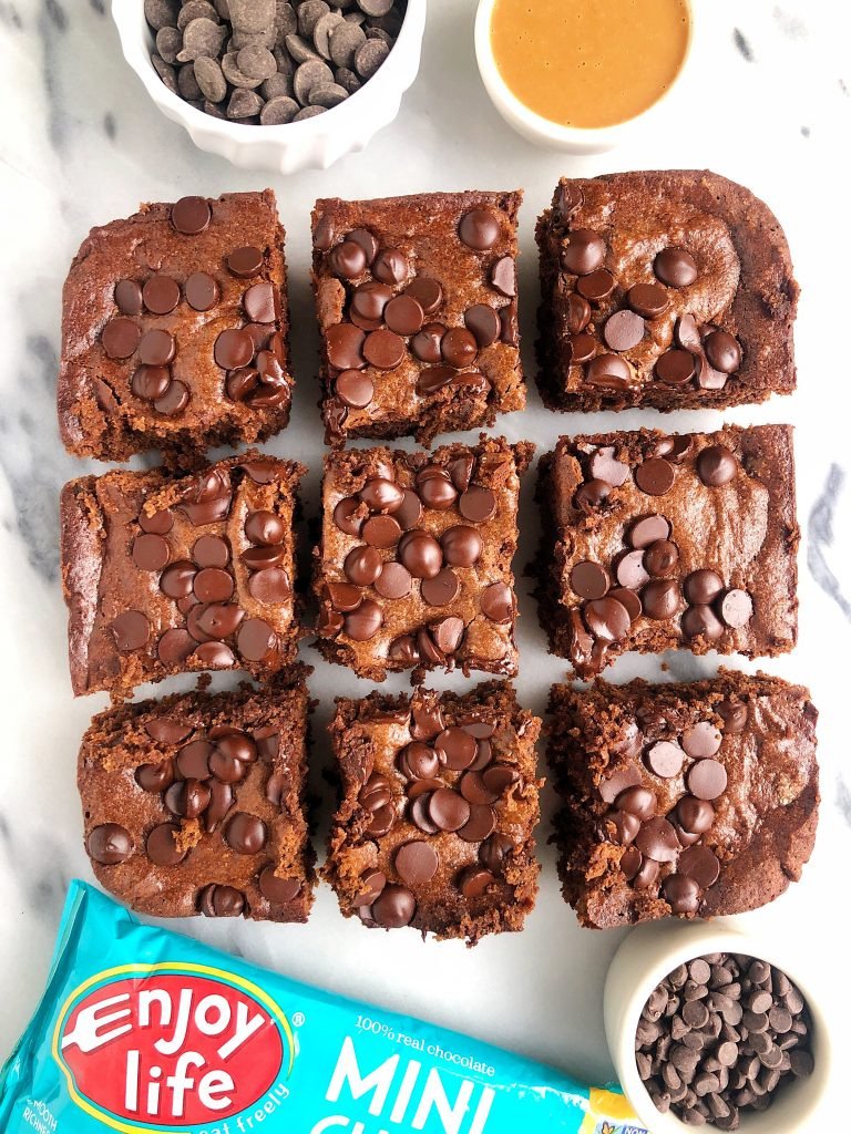 Grain-free Chocolate Chip Brownies made with almond butter, almond flour and all gluten and dairy-free ingredients and friendly for Passover!