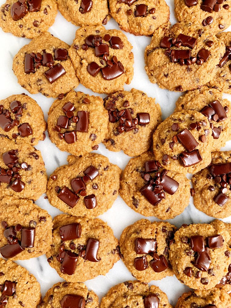 Soft and Chewy Gluten-free Chocolate Chip Banana Bread Cookies made with healthy ingredients for a delicious banana bread cookie recipe!