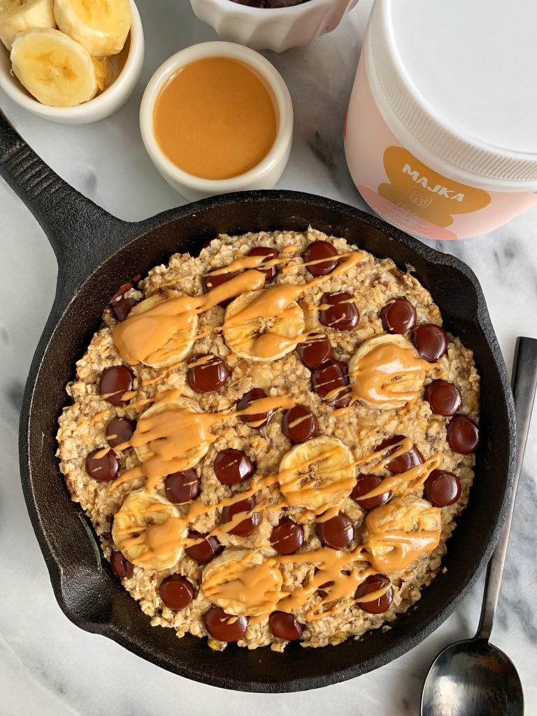 Mini Chocolate Chip Banana Bread Oatmeal Bake made with all vegan and gluten-free ingredients with an extra boost for a healthier milk supply for nursing mamas too!