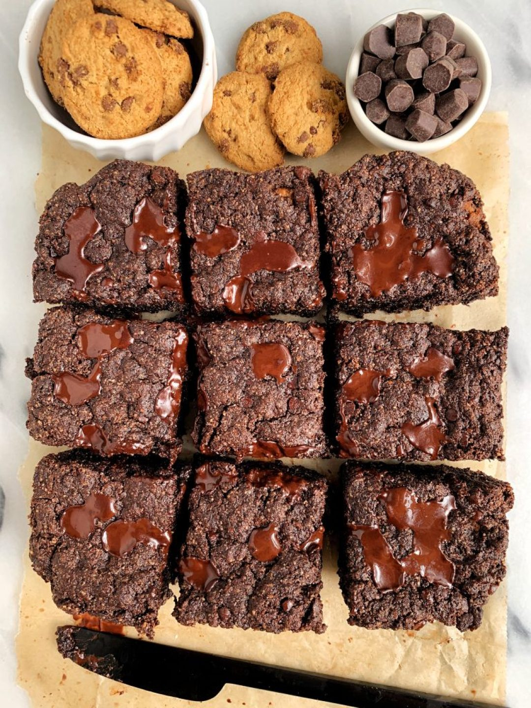 The Best Chocolate Chip Cookie Stuffed Brownies made with all gluten-free and vegan ingredients for a healthy and easy dessert!