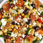 Healthy and Hearty Greek Veggie Pasta Salad (gluten-free)