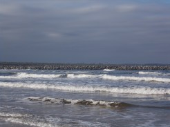 The breakwall from the beach