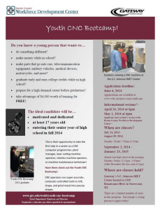 Youth CNC 2014 Bootcamp Flyer