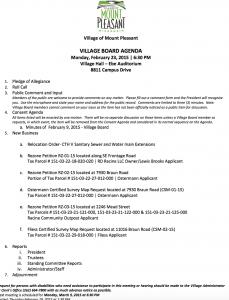 MP Feb 23 Village Board Agenda