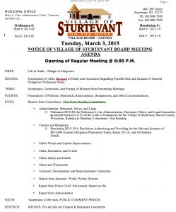 March 3 Sturtevant Board Agenda 1