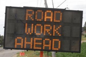 Road Work Ahead Digital Sign