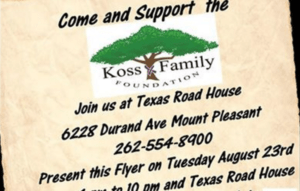 Dine and Donate Texas Roadhouse Koss Family Foundation