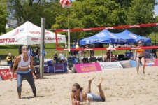 Over 60 volleyball players took to the sand on Saturday at North Beach as part of the Extreme Volleyball Tour. (photo by Denise Lockwood)