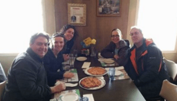 Racine Pizza Bus Tour stops at Wells Brothers Pizza