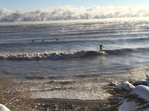 Surfers Not Deterred By Freezing Temperatures