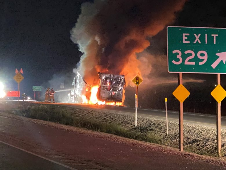 Semi carrying caramel, semi fire, I-94, Racine County, Raymond, Wisconsin