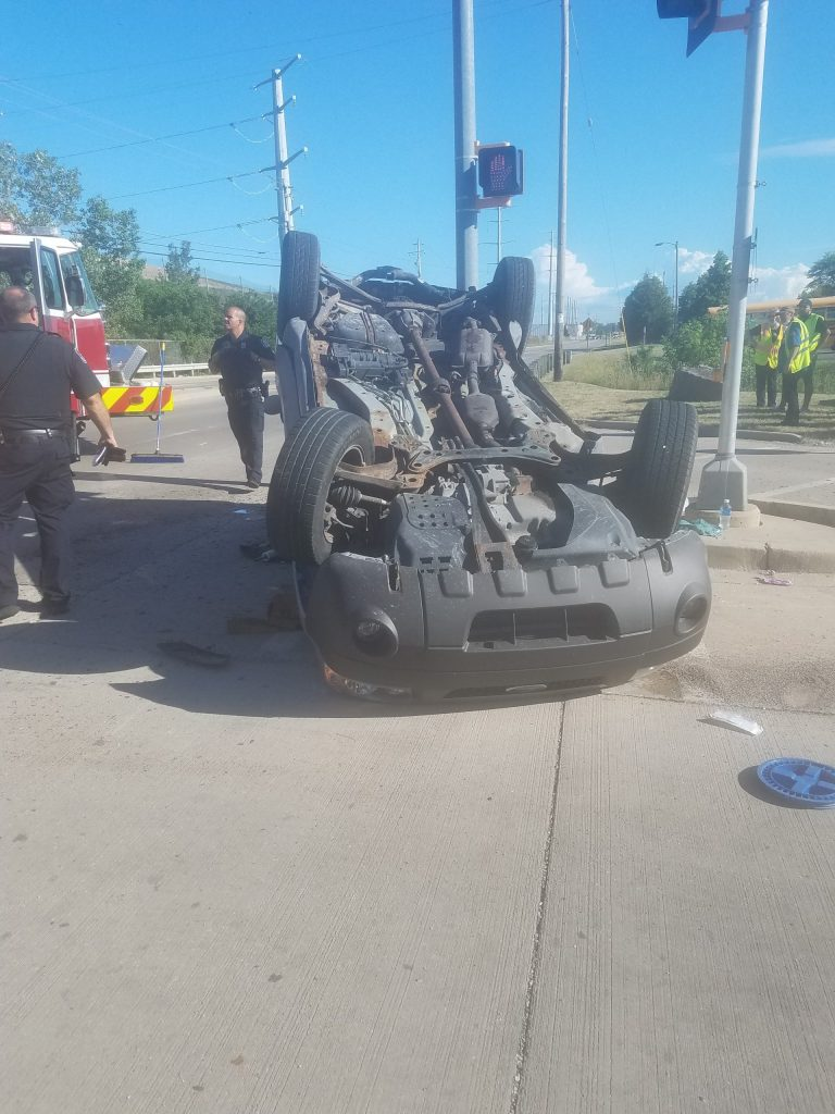Car Rolled Over From Crash
