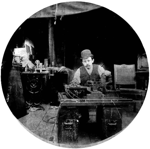 Charles Kayer at The Edison lab Kinetograph.