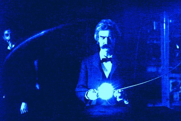 Mark Twain in Tesla's lab.