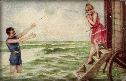 Bathing Machine Postcard, 1910.