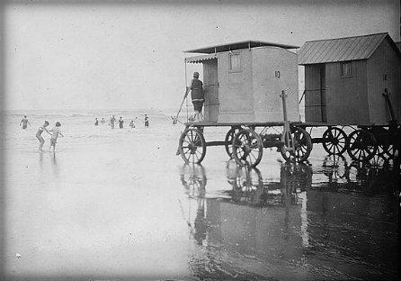 Bathing machine at shore.