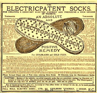 Electropathic sock, late 1800's.