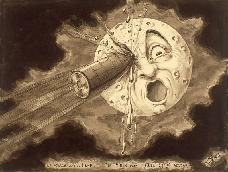 Drawing of Moon with rocket in it's eye.