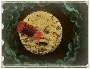 Lunar canon hits moon in the eye.