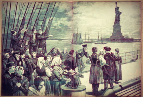 View of Statue of Liberty from a ship, 1887.
