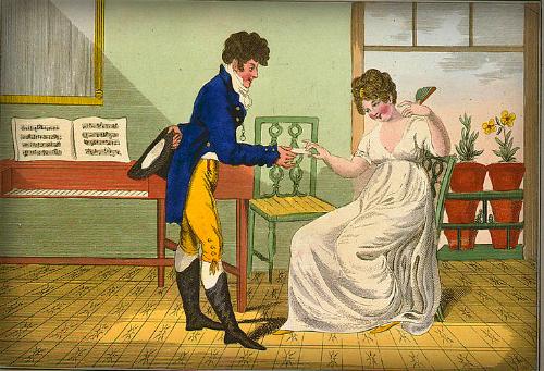 Victorian Era Flirting Cartoon.