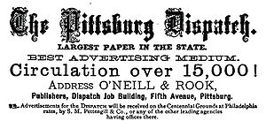 Pittsburgh Dispatch Ad. Image: Wikipedia.