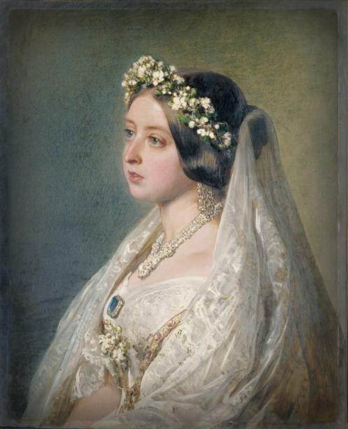Portrait By Franz Xaver Winterhalter, Of Queen Victoria In Wedding Dress As Anniversary Gift To Prince Albert.