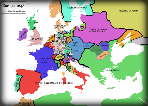 Map of Europe, 1648. Image: Wikipedia.