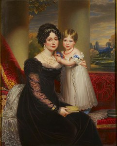 Duchess of Kent with Victoria, by Henry Bone, 1824.