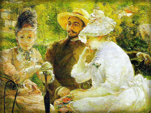 Marie Bracquemond: On the Terrace at Sèvres. 1880. Image: WikiMedia.