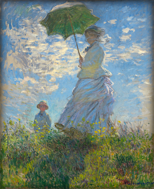 Claude Monet, Woman With A Parasol: 1875. (Madame Monet And Son.) Image: Wiki Media Commons.