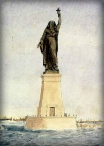 Bartholdi's Concept Sketch: Progress Carrying Light To Asia.