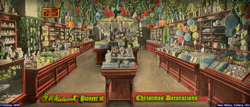 Woolworth's Christmas Decorations. New Albany, Indiana, 1909.
