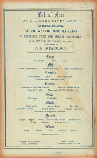 New Year's Eve Dinner Menu, 1853.