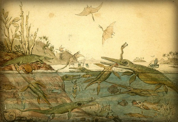 Henry de la Beche Watercolor Based on Fossils Found by Mary Anning, 1830.