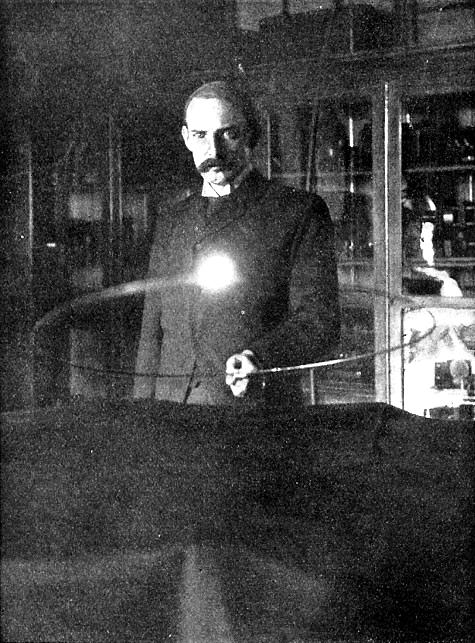 Victorian Selfies, Marion Crawford in Nikola Tesla Lab, 1894. Image: Century Magazine.