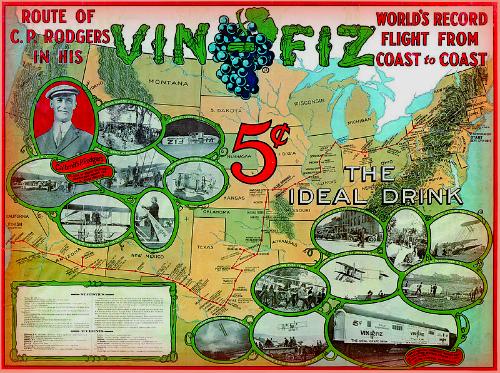 Vin Fiz First American Transcontinental Fight Ad. Image: Wikipedia.