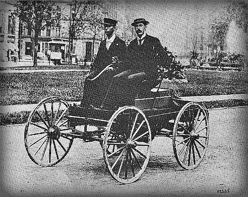 Charles Brady King And His Car, 1896. Image: Wikipedia.