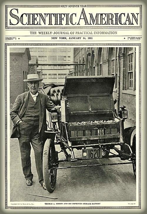 Victorian Era Electric Cars; Thomas Edison, Scientific American 1911. Image: ChucksToyLand.com.