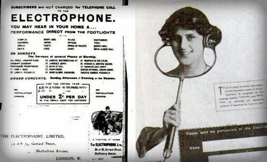 Electrophone Ad. Image: Scientific American.