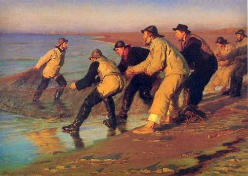 Peder Severin Kroyer: Fishermen hauling nets, North Beach, Skagen, 1883. Image: Wikipedia.